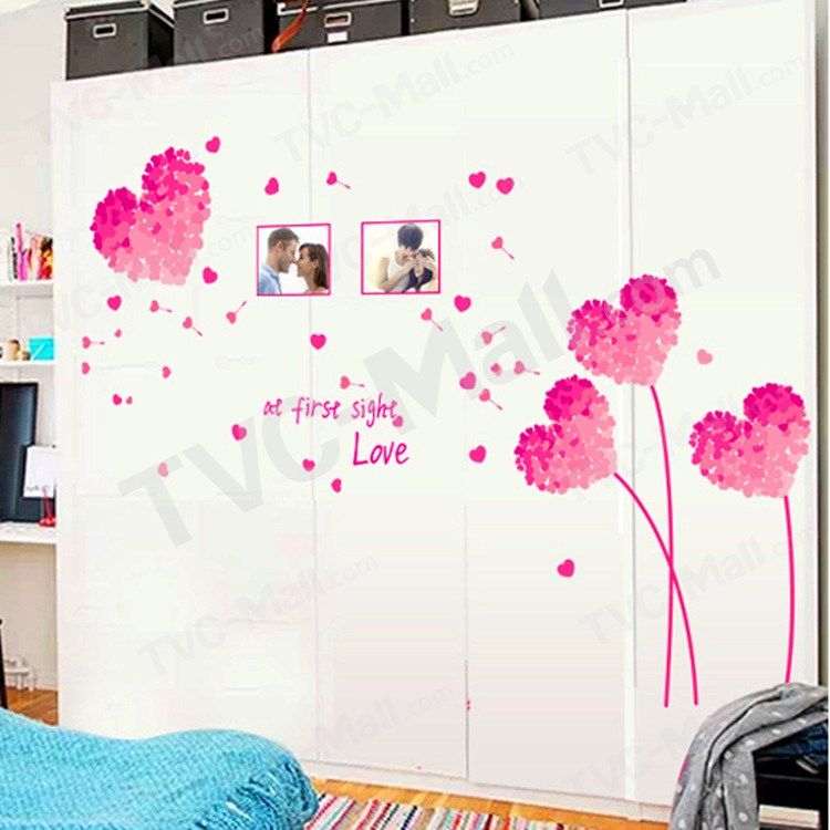 Romantic Pink Heart Shaped Flowers Wall Sticker Living Room Bedroom Wall Decals 2 Paris Wall Decor Flower Wall Stickers Owl Wall Decor