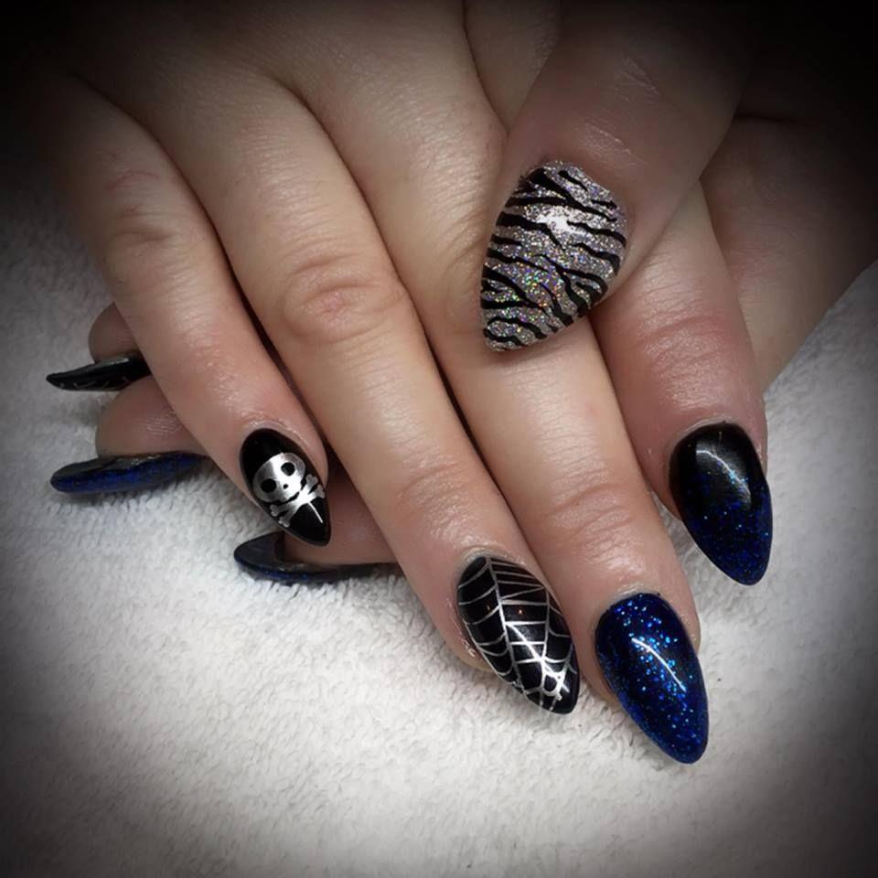 Nail Designs by Stefanie Abila Disco Rainbow Glitter Zebra Spiderweb ...
