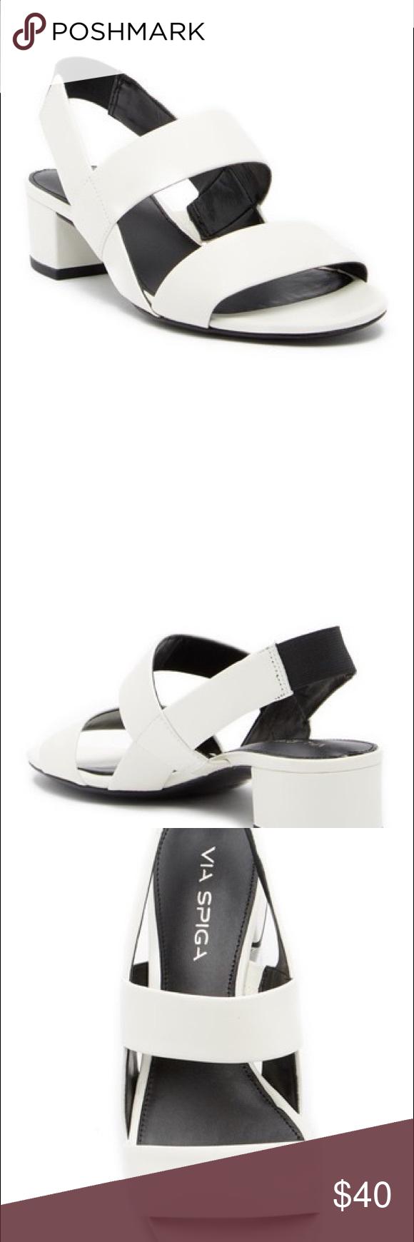 a4d1962b7a Via Spiga Block Heel Sandal Via Spiga Tiana Leather Slingback Block Heel  Sandal True to size.Open toe - Leather construction - Dual vamp straps -  Hidden ...