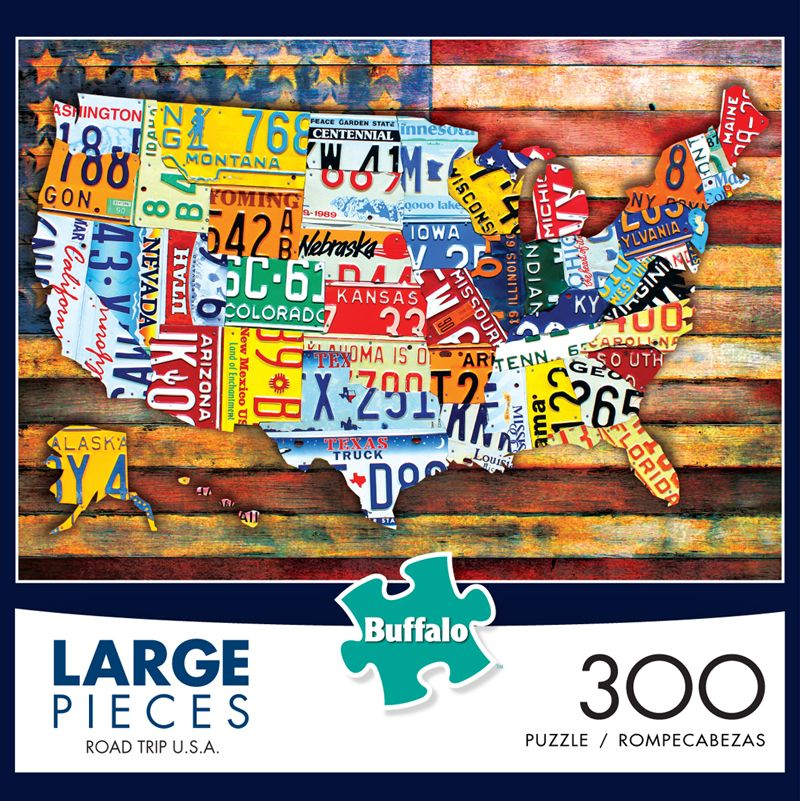 Road Trip USA - license plate map puzzle! | New Products ...  License Plate Map Usa on license plate world map, map usa map, color usa map, leapfrog interactive united states map, flag usa map, basketball usa map, baseball usa map, paint usa map, golf usa map, motorcycle usa map, driving usa map, decals usa map, watercolor usa map, art usa map, reverse usa map, list 50 states and capitals map, state usa map, time usa map, license plate map art, license plates for each state,