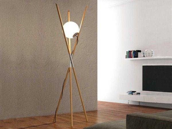 Wood Floor Lamp Modern Three Wooden Letter Ball Light Moon Bb Envy