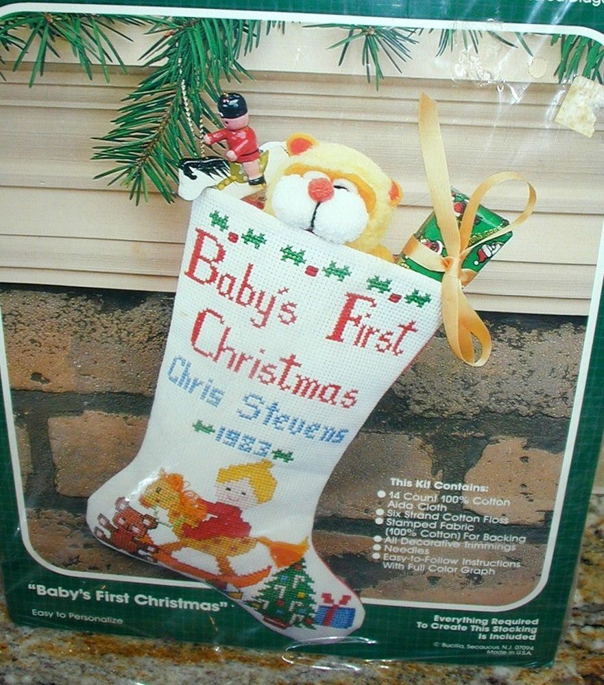 New Bucilla Counted Cross Stitch Kit Babys First Christmas Stocking Sealed Bucilla