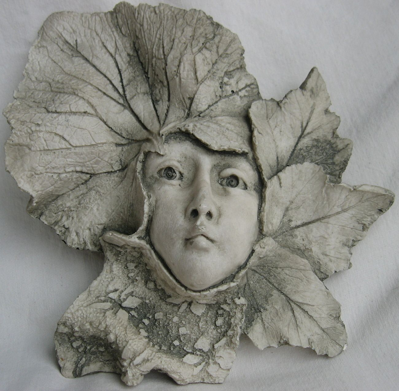 Leaf Girl Garden Fairy Face Wall Hanging Resin Stone Plaque Sculpture Faery