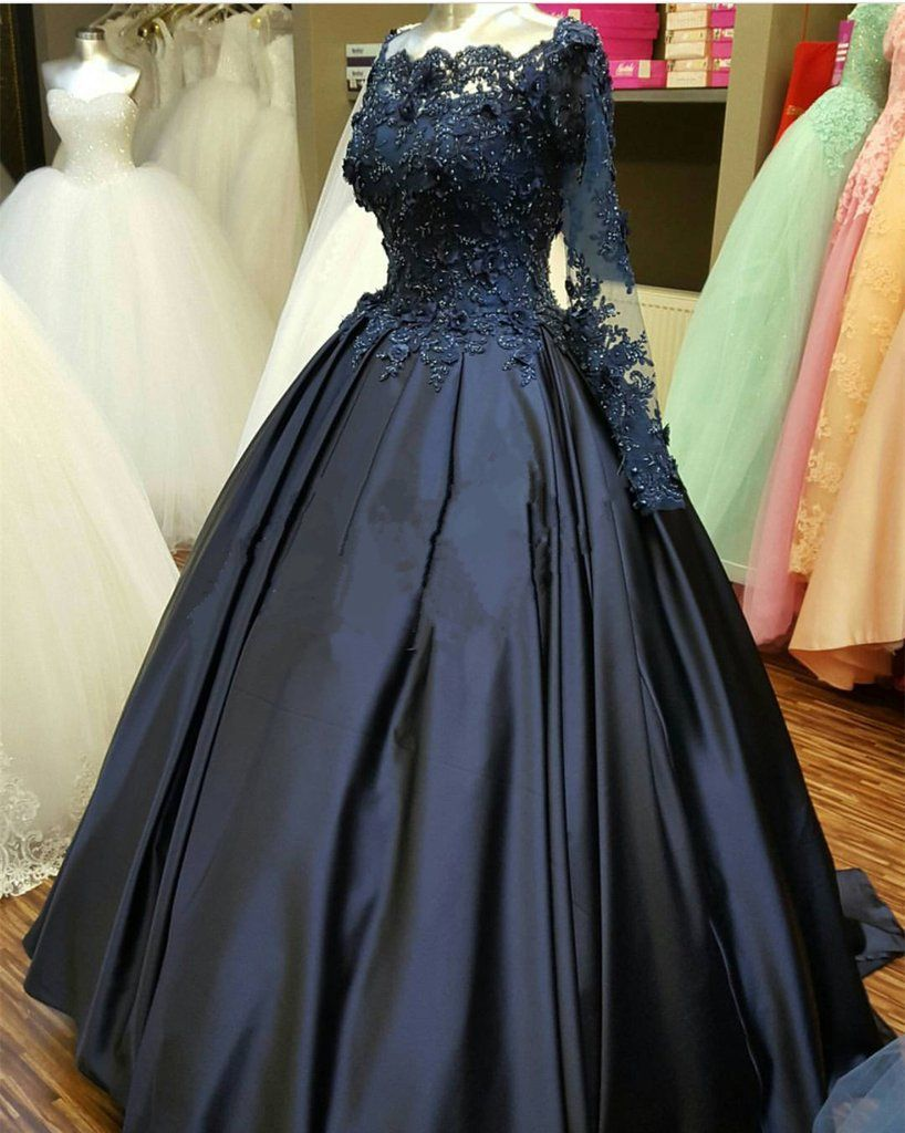 d89034c134 elegant lace beaded navy blue satin ball gowns long sleeves evening prom  dresses