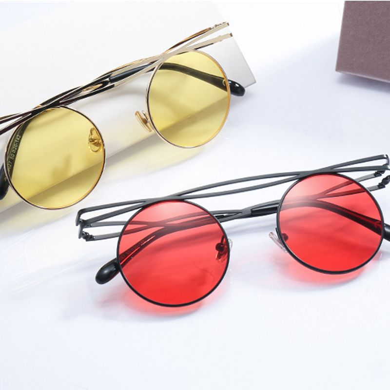ff5be328ed4a $7.99 Peekaboo metal round steampunk sunglasses men retro vintage 2019  circle sun glasses for women black red yellow uv400 #roundsunglasses # vintage