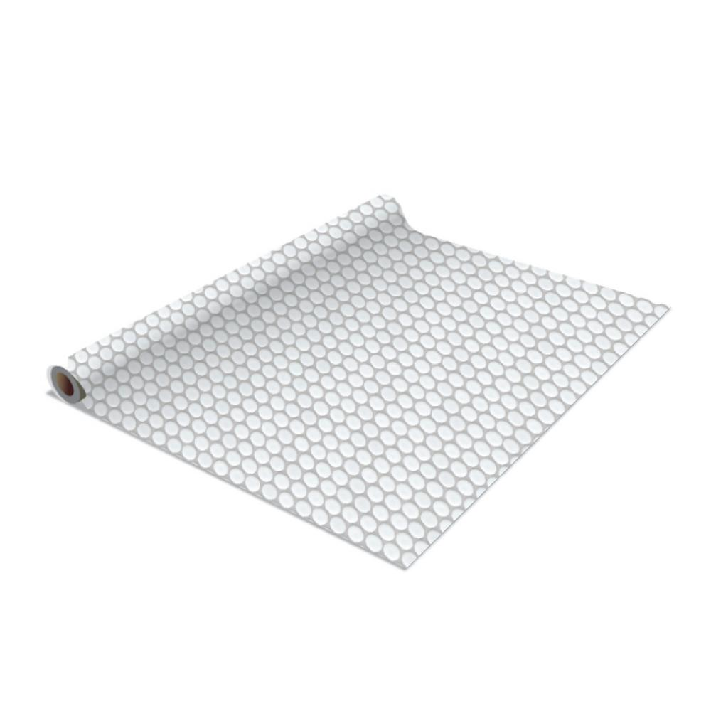Simplify 2 Pack Penny Tile Self Adhesive Shelf Liner In White