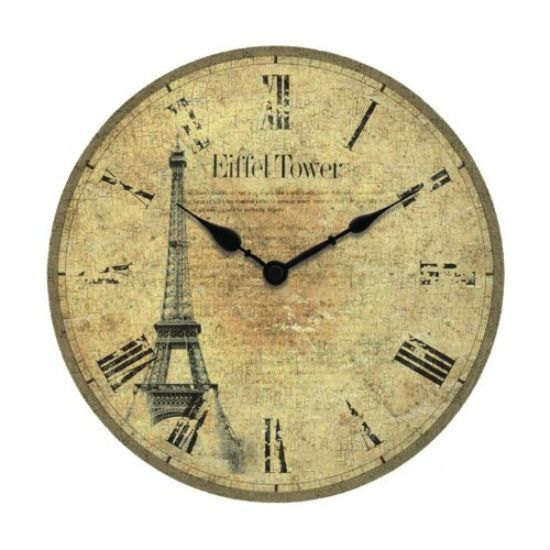 Worn Face Paris Wall Clock with Roman Numerals   Miniatures and Cards