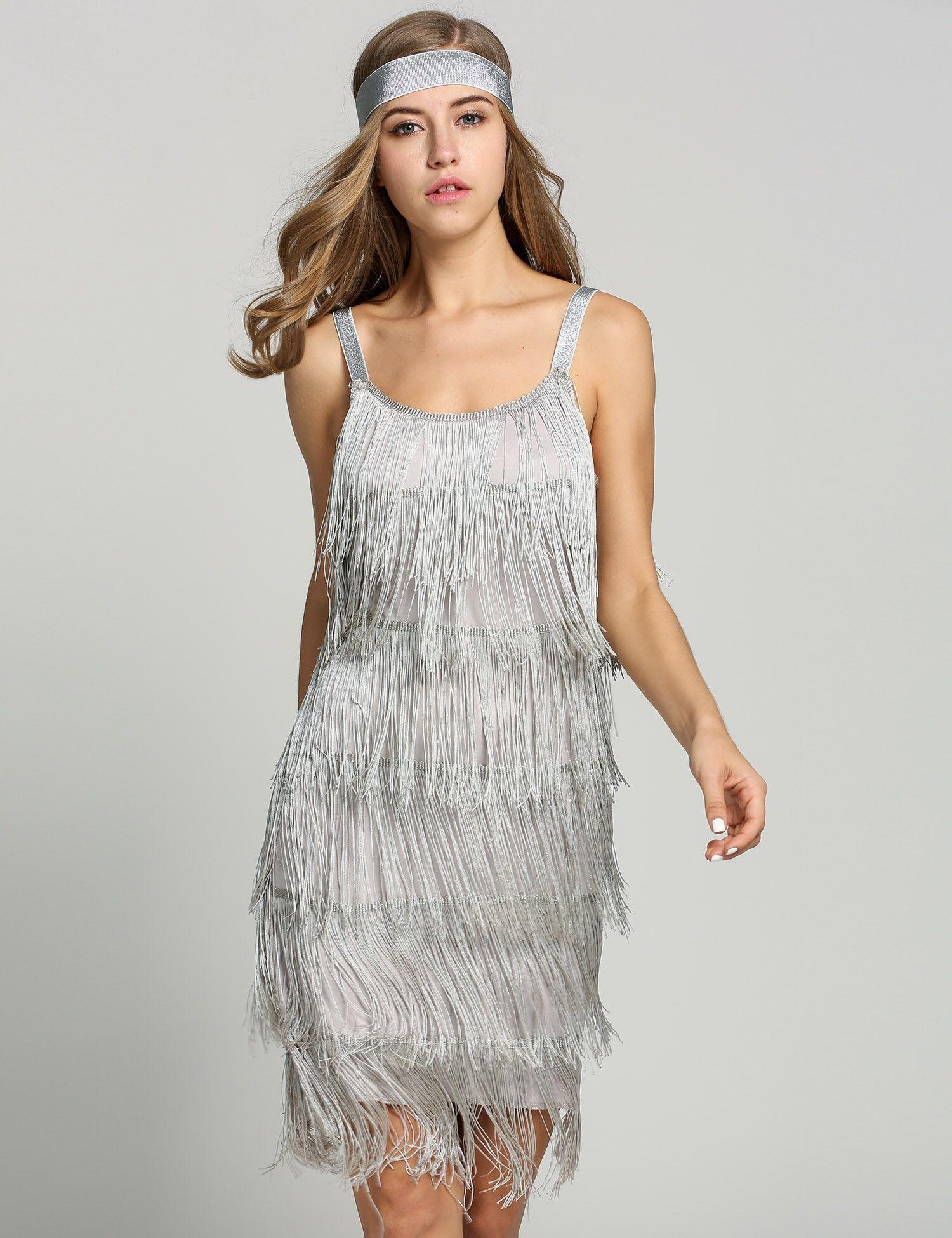 1920s Straps Tassels Glam Gatsby Fringe Flapper Belted Party Dresses