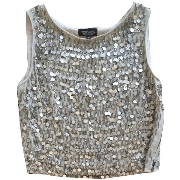 Pre-owned Topshop Top Silver. (€115) ❤ liked on Polyvore featuring tops, shirts, crop top, tanks, silver, silver tank, cropped tank top, silver top, going out tops and topshop shirts