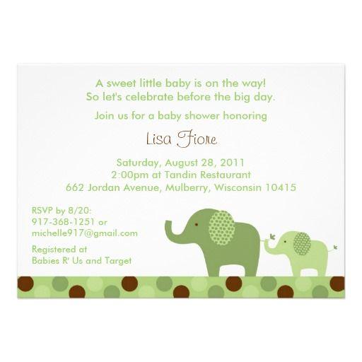 Mod Elephant Polka Dot Baby Shower Invitations