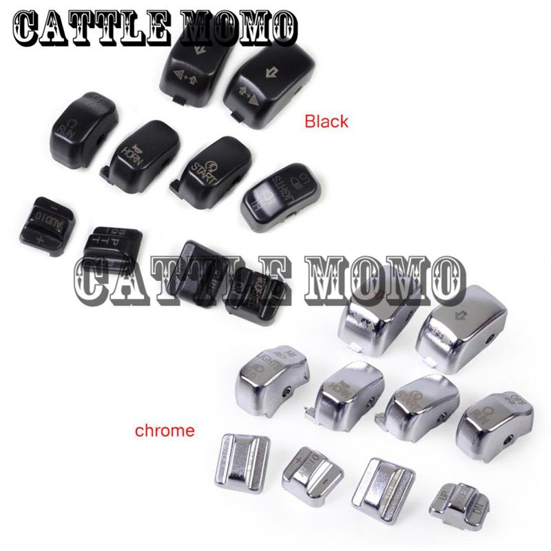 10Pcs Black Hand Control Switch Housing Caps Kit For Harley Electra Street Glide