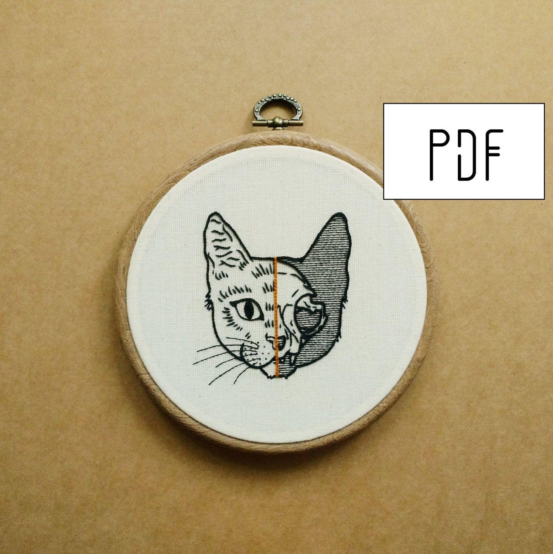 Half cat skull hand embroidery pattern pdf modern