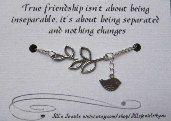 e6ea97a12affc Best Friend Long Distance Friendship - Charm Bracelet with Leaf and ...