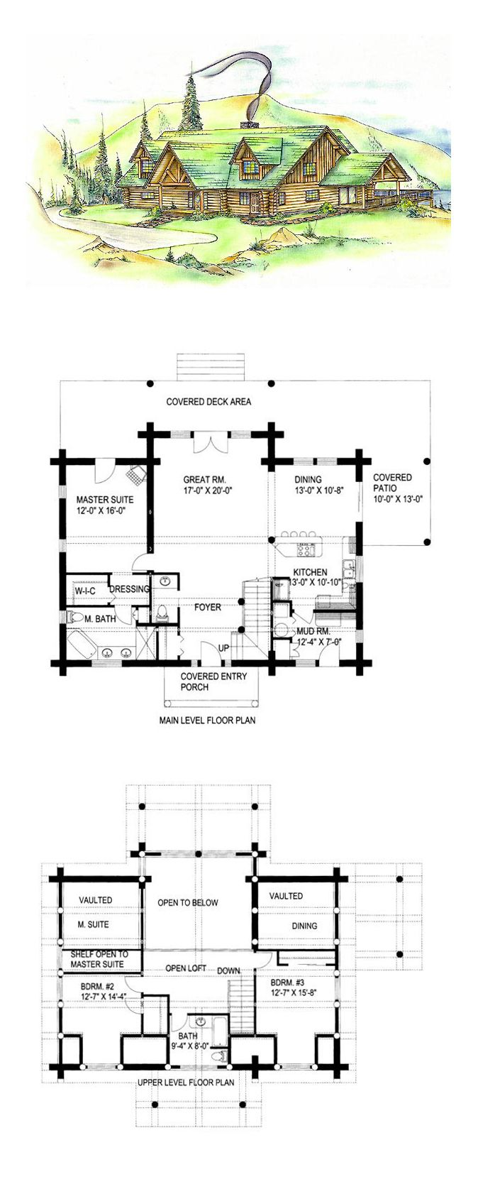 log cabin style cool house plan id chp 45372 total living area