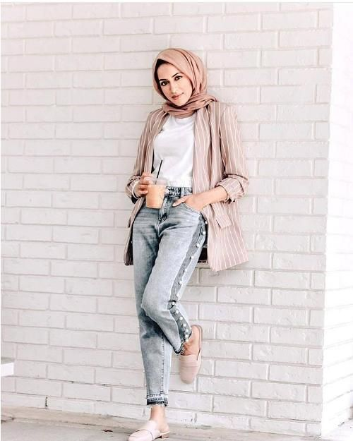 66efb12d48c4 Striped Blush Blazer Hijab Style Summer 2018 Just Trendy Girls
