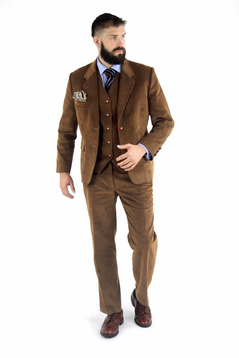 Cordifornia Handmade Slim Fit 3 Piece Suit Toffee Monkey Suits ...