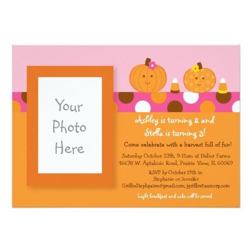 Lil Pumpkin Autumn Fall Birthday Invitations