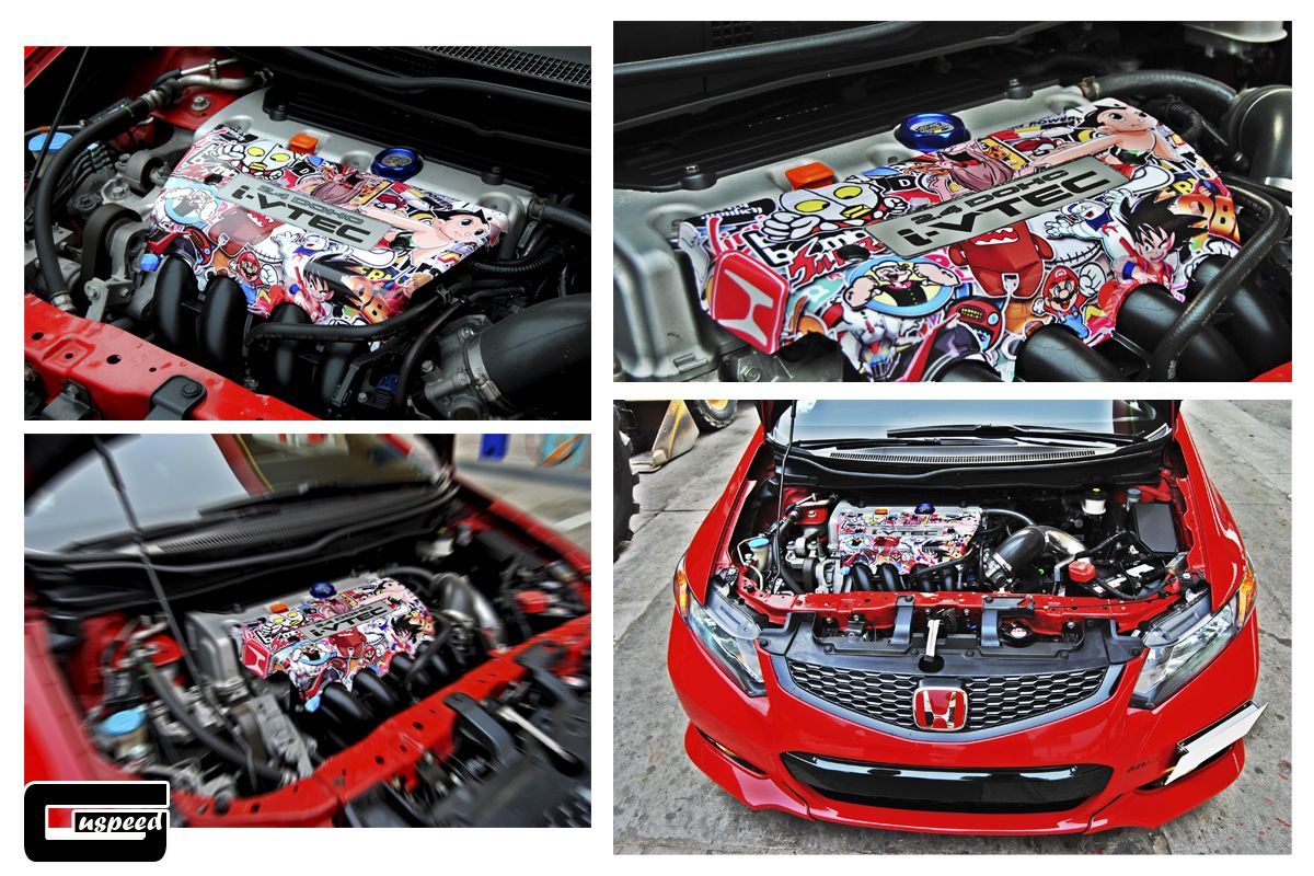 Engine Cover Lined With Sticker Bomb Honda Civic Si Honda Civic Si Honda Civic Honda