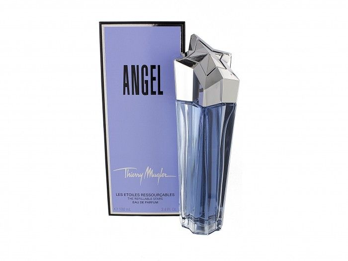 Angel by Thierry Mugler is an Oriental Vanilla fragrance. Angel combines uniques notes of mandarin orange, sweet honey, bergamot, melon, coconut, cassia, soft jasmine, cotton candy, red berries, dewberry, apricot, plum, peach, lily of the valley, and orchid, luscious vanilla, creamy caramel, dark chocolate, and trails of coumarin, Tonka bean, white musk, patchouli, and Australian sandalwood.