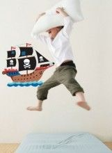 Have fun decorating a swash buckling pirate themed room  Details: Assembled ship measures: 58cm (h) x 48cm (w)  These wonderful removable wall decal from Forwalls are sure to delight any little man. If you're looking for removable wall stickers with a difference, then look no further than these delightful decals that will be sure to impress. These wonderful decals will brighten up that boring wall adding character, style and warmth.