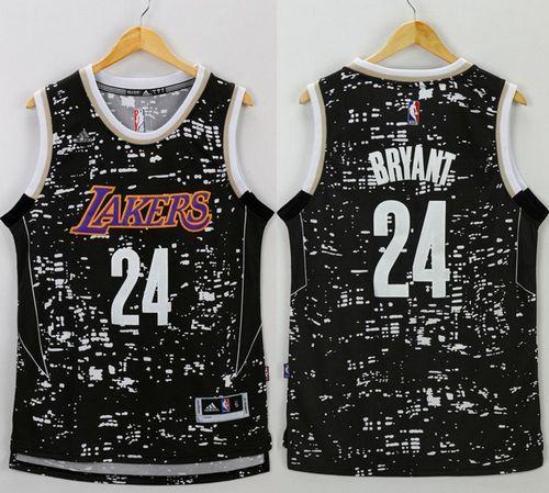 6031ae4e48f Lakers  24 Kobe Bryant Black City Light Stitched NBA Jersey