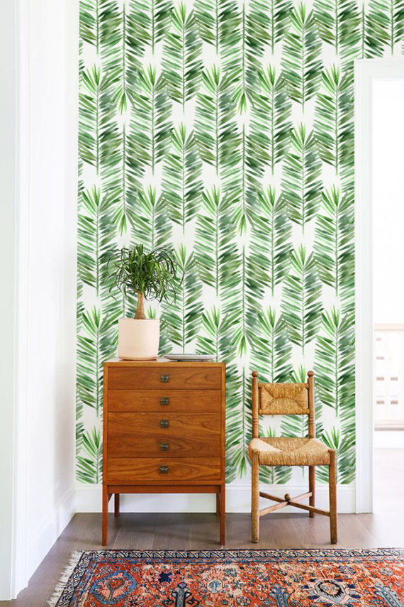 Palm Tree Wallpaper Leaves Wall Decor Removable