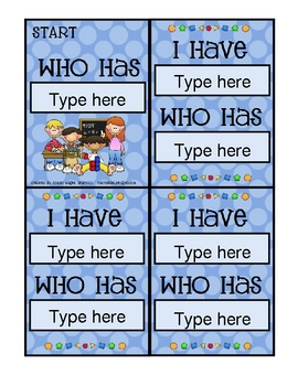 Creating I Have Who Has Cards Has Never Been Easier With This Microsoft Word Template Simply Click Inside The Text Boxes To Teaching Math Math I Love School
