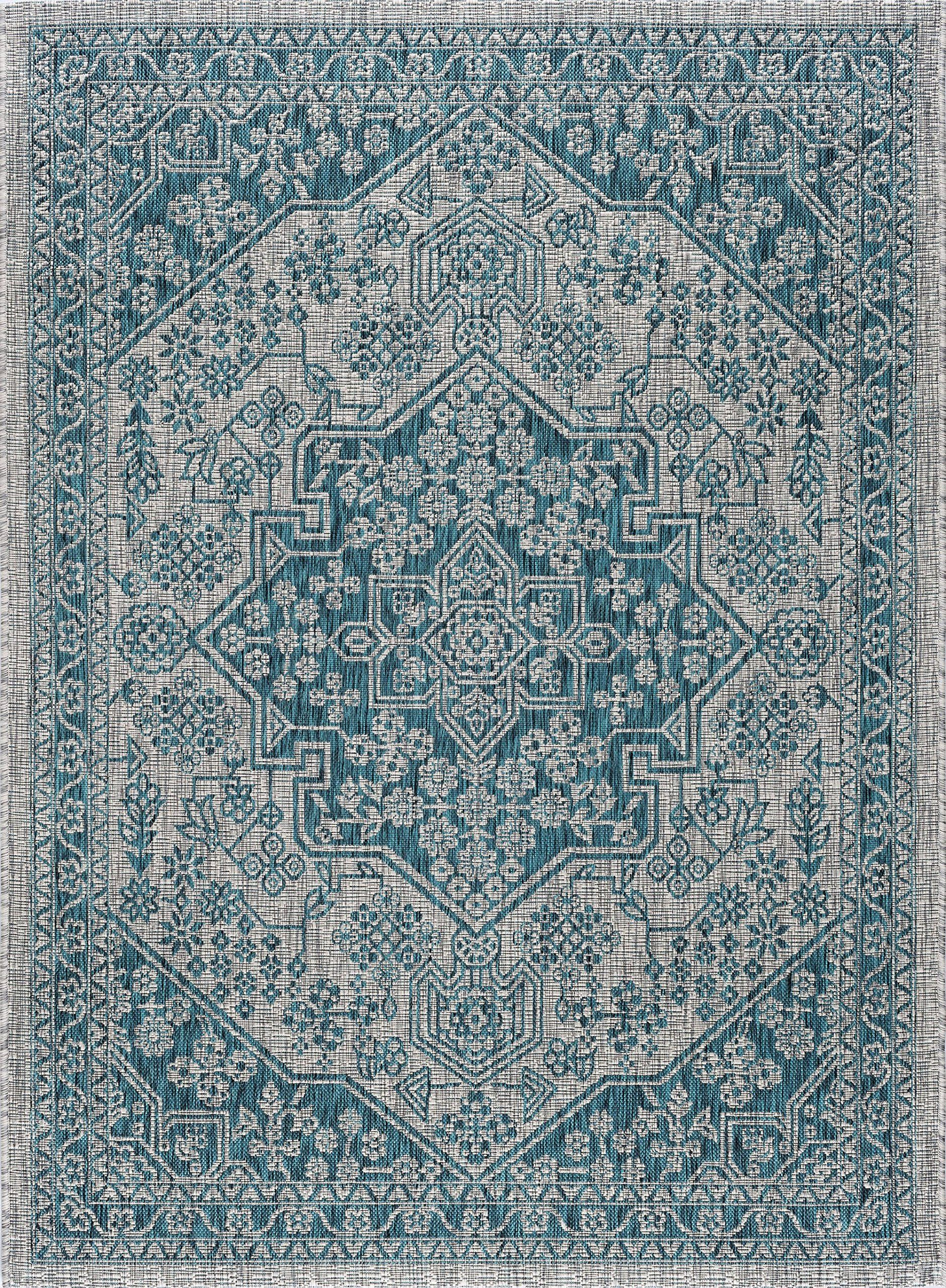 Vaux Medallion Aqua Rectangle Easycare Indoor Outdoor Area Rug 8 X 10 See This Great Product This Is An Affilia Outdoor Rugs Aqua Rug Indoor Outdoor Rugs