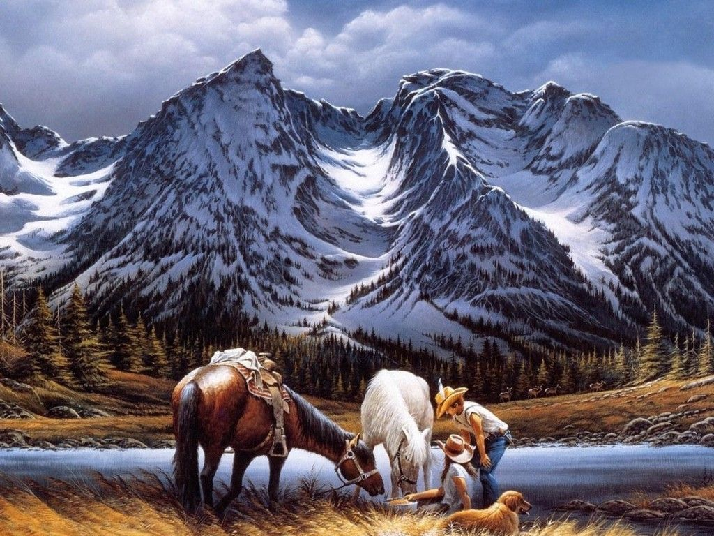 Western Couple Riding With Horses And Dog Cute Wallpaper Mountain Paintings Paint By Number Kits Terry Redlin