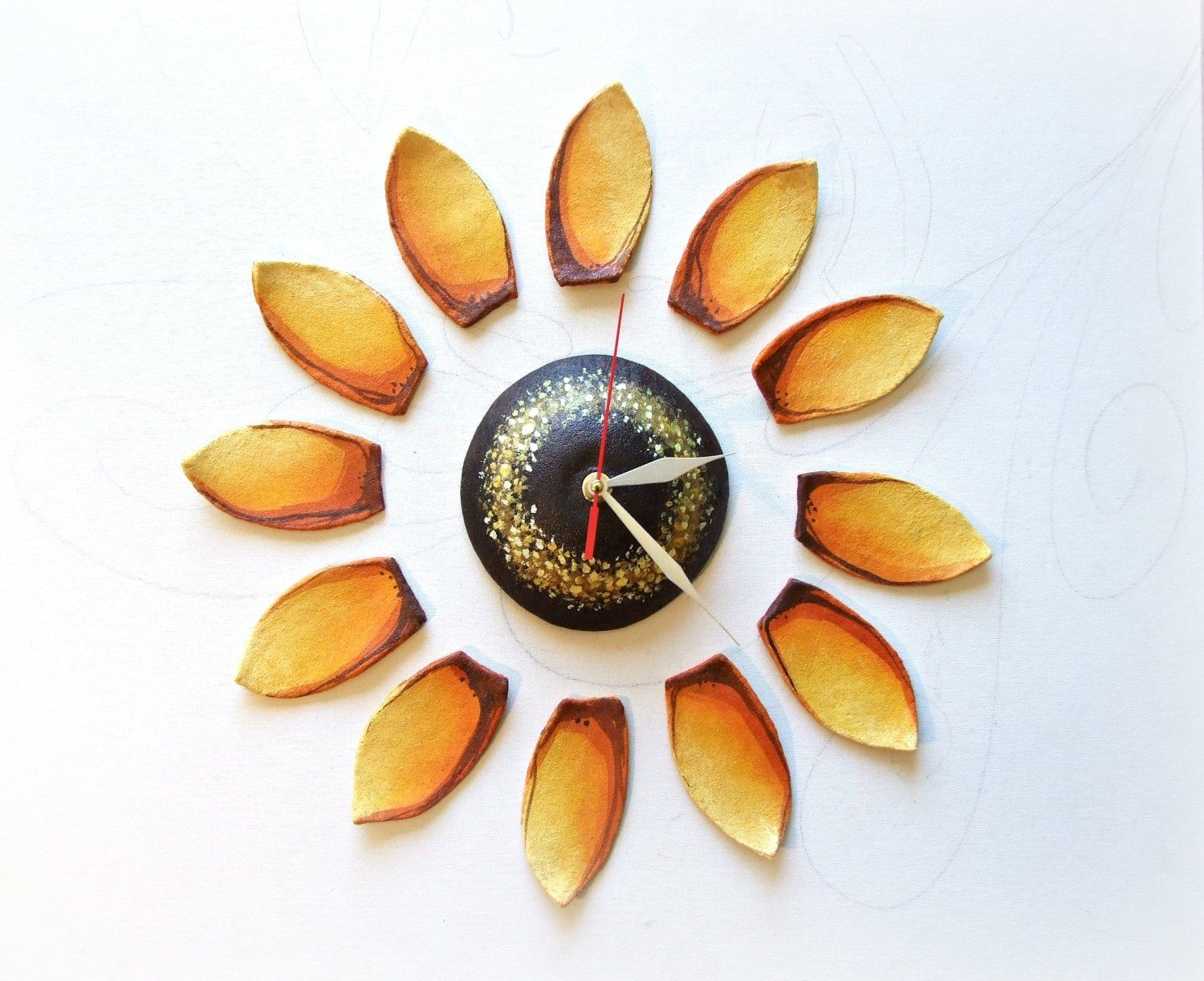 Sunflower wall clocks Country wall art for kitchen Wall flower decor Sunflower Wall decal Nature Original gift idea for wife Gardener gift #sunflowerbedroomideas