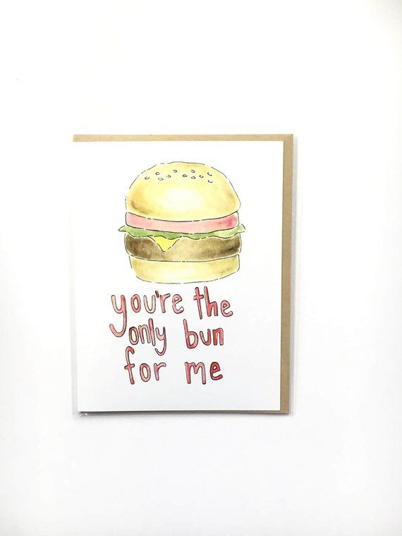 504cfed1a burger note card, valentine's foodie card, valentine card for him,  cheeseburger greeting card, first
