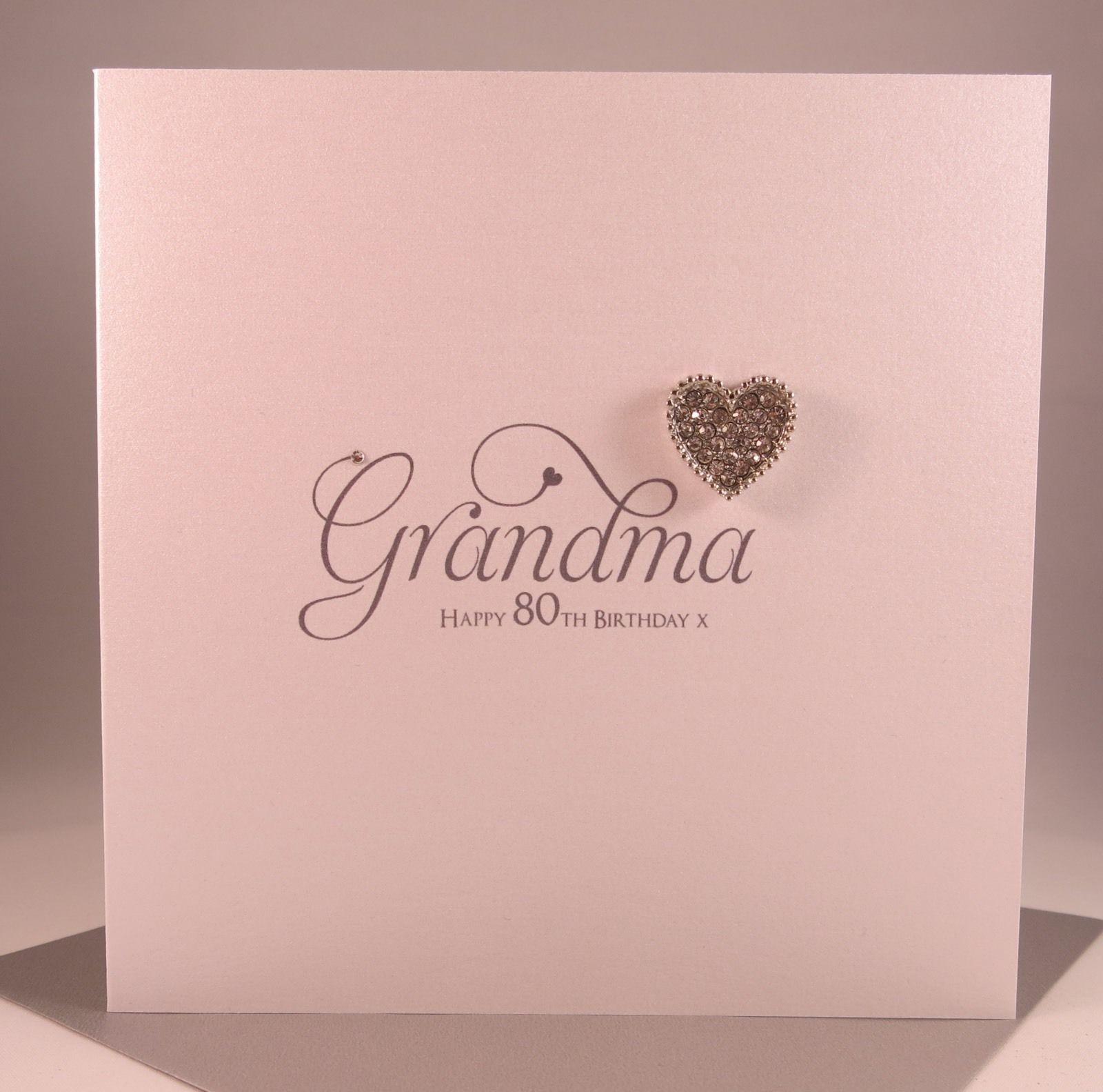 gbp luxury diamanté heart grandma birthday card grandmother