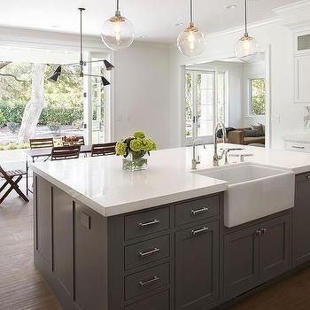 gray center island with deep farm sink kitchen island with sink farm sink sink in island on kitchen island ideas with sink id=44367