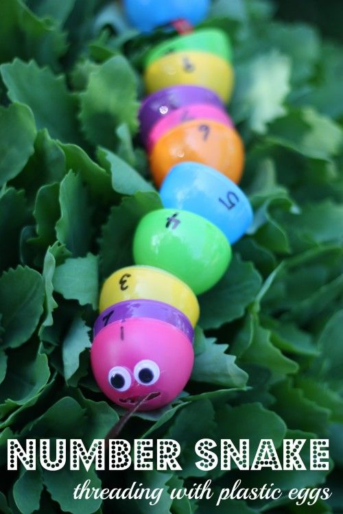 Another way to repurpose those plastic eggs...make a number snake that your child can thread!