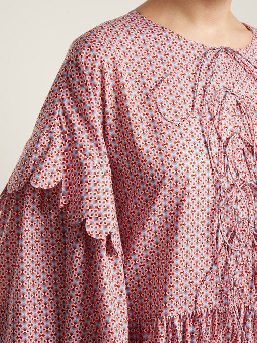 Cheap Sale Real Geometric-print tiered-ruffle cotton dress Horror Vacui Footlocker Finishline wcpJWt6