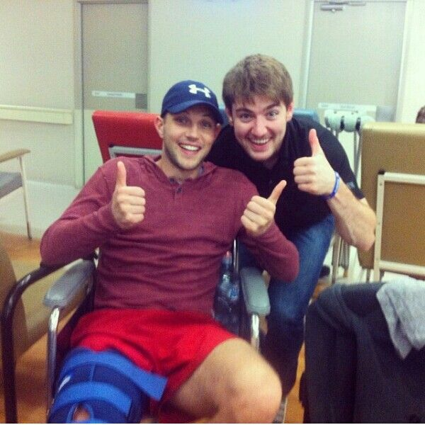Colm and Emmet. Clom in splint after having a surfing accident in Australia while on tour. 5/26/14