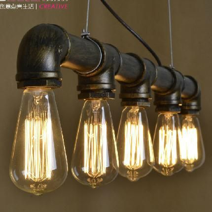 Grade A Retro Nostalgia Loft Industrial Style Coffee Bar Pendant Lights Restaurant Pipe Lamp Dining