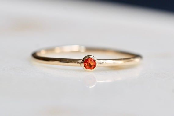Photo of 14K Gold Tiny Mexican Fire Opal Ring, Orange Stone Ring, Dainty Jewelry, Stacking Ring, October Birthstone, Bezel Setting