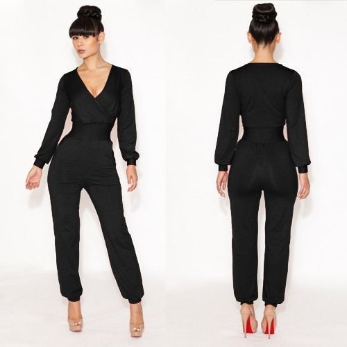 fe09bea1844e New Women Sexy Jumpsuit V-neck Long Sleeve Catsuit Black Party Bodysuit  Rompers  other