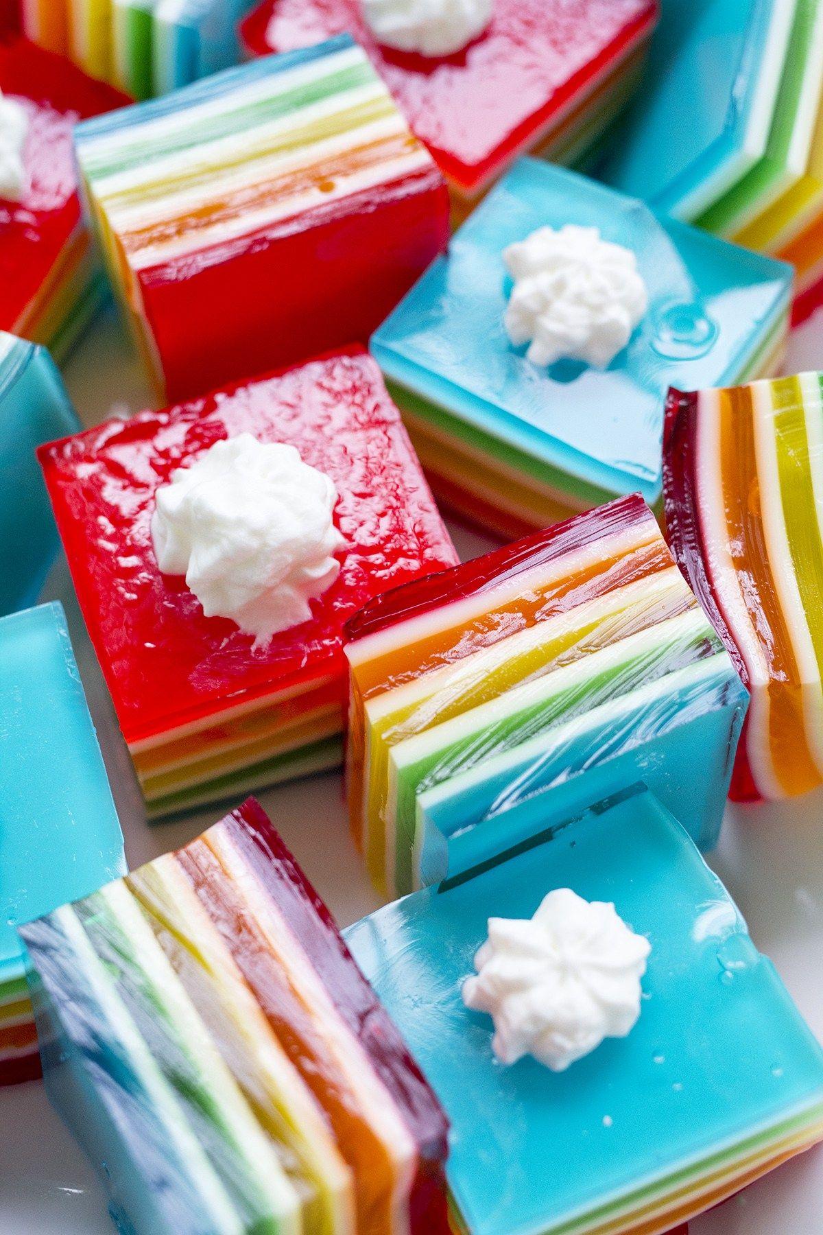 Rainbow Layer Jello Layered Jello Layered Jello Recipe Jello Layers Dessert