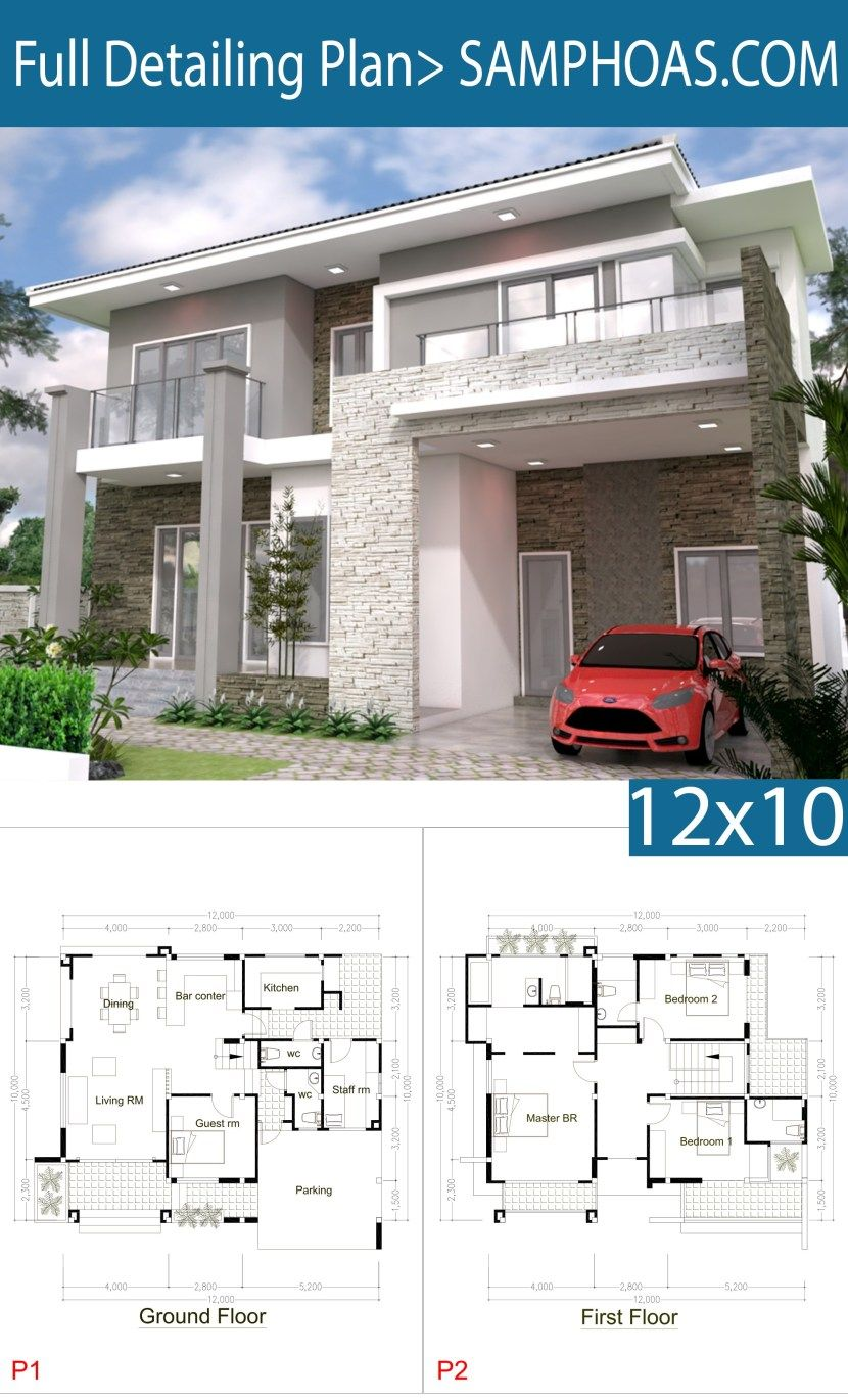 5 Bedrooms Modern Home 10x12m Samphoas Plan Architecture House Contemporary House Plans Modern House Design