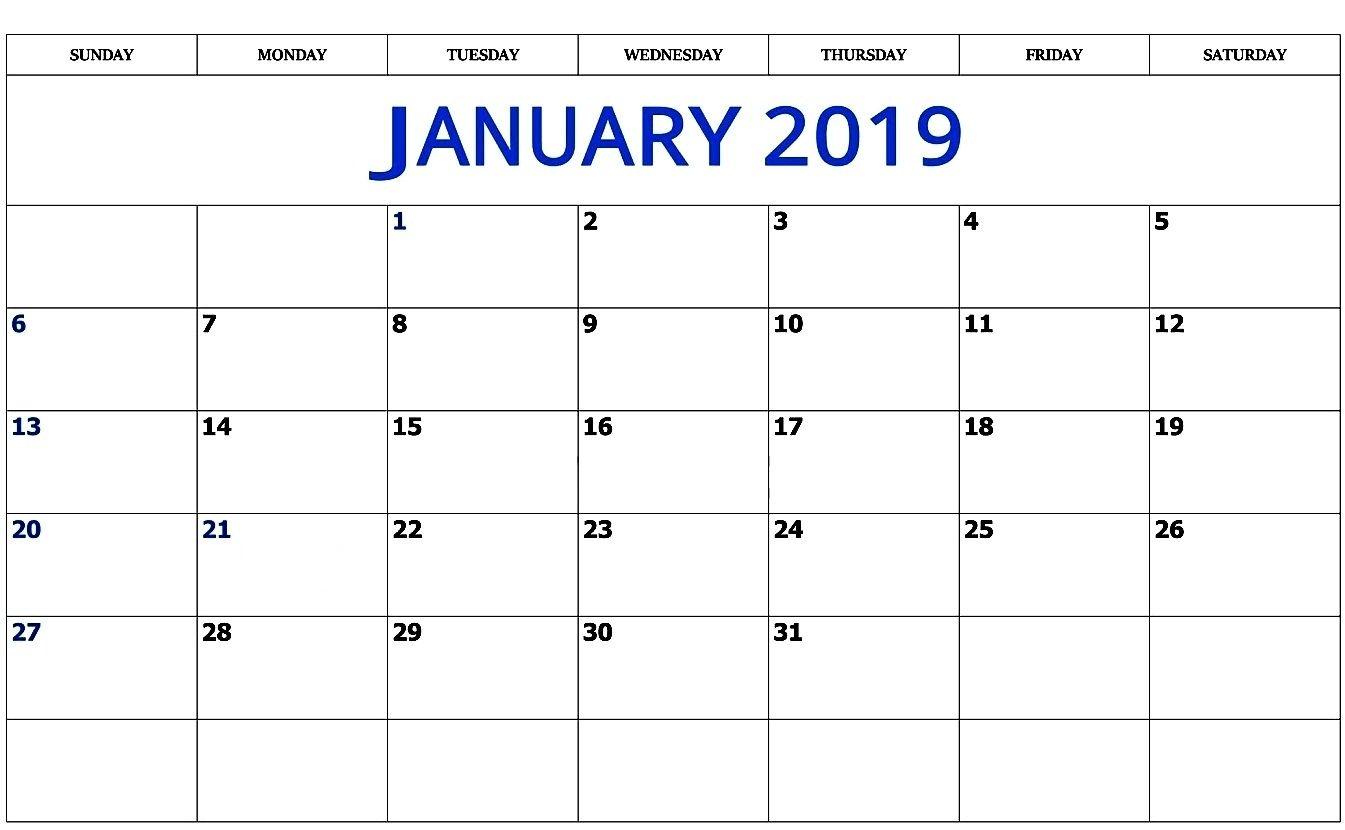 Print January 2019 Calendar Free Printable Printable Calendar