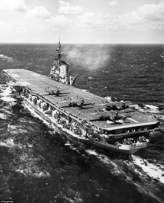 USS Midway (CV-41) off Okinawa during qualification trials in 1951.