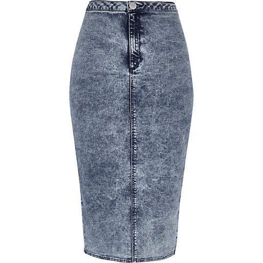 mid acid wash denim skirt riverisland fashion