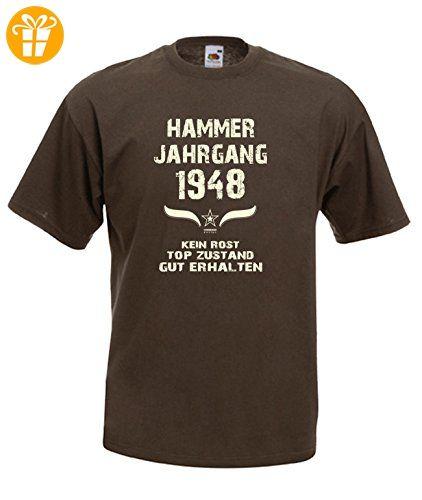 Sprüche Motiv Fun T-Shirt Geschenk zum 69. Geburtstag Hammer Jahrgang 1948  in braun