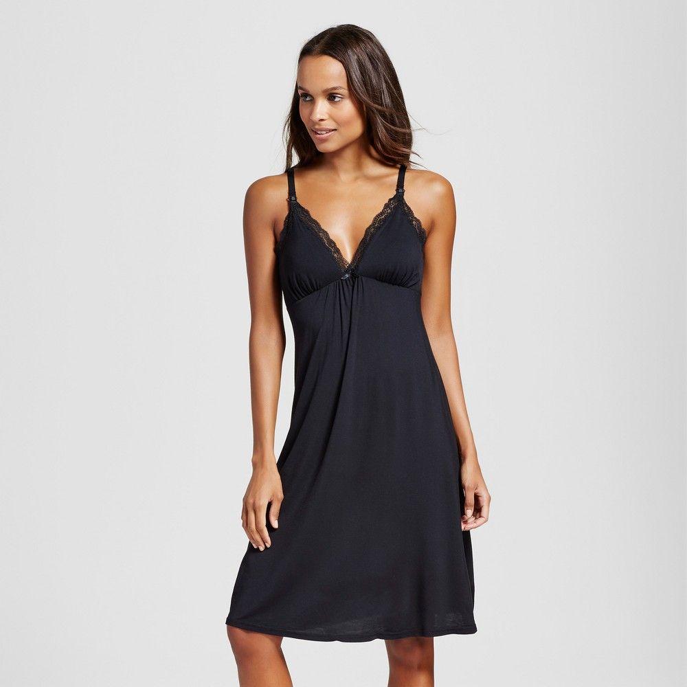 Maternity Nursing Empire Nightgown Black XS 393995772