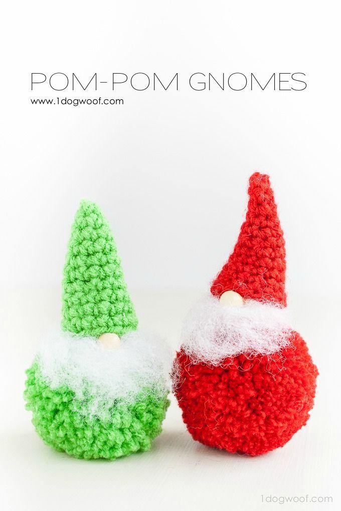 Pom-pom Gnomes {Crochet Pattern | Pompones, Navidad y Gnomo