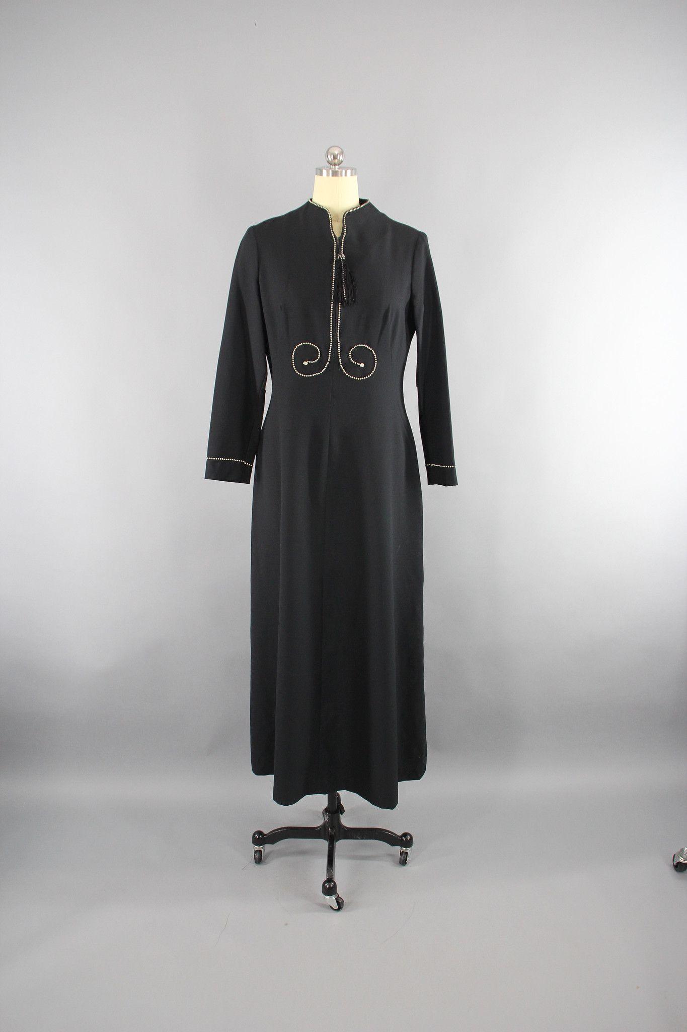 S vintage maxi dress with rhinestones and fringe thisbluebird