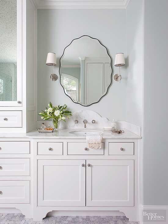 beautiful white traditional bathroom, bath vanity, bath sconces ...
