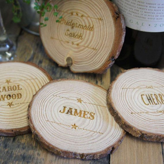 Personalised Woodslice Place Settings Ideal Wedding Names Favours X30